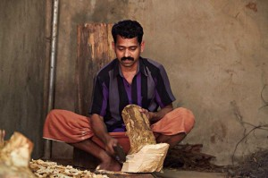 Ayurvedayogavilla-wood-cutting